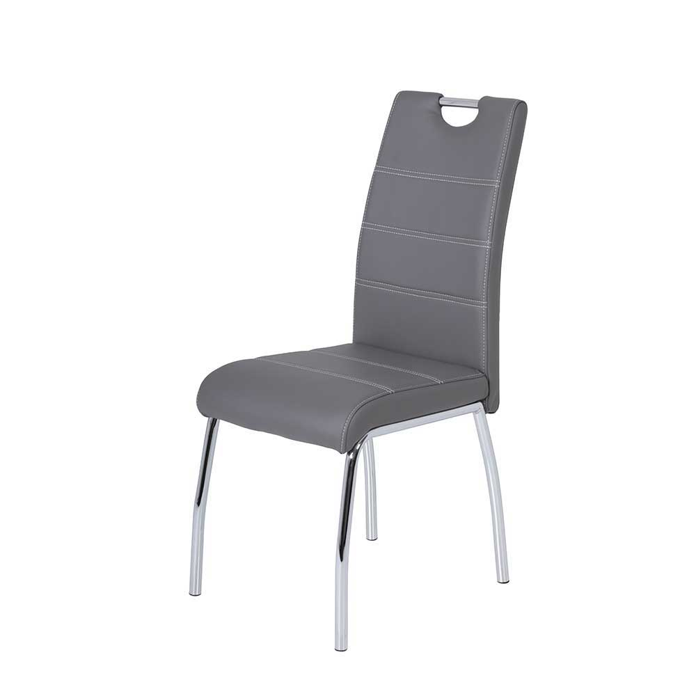Esstisch Stühle in Grau Kunstleder verchromtem Metallgestell (Set)