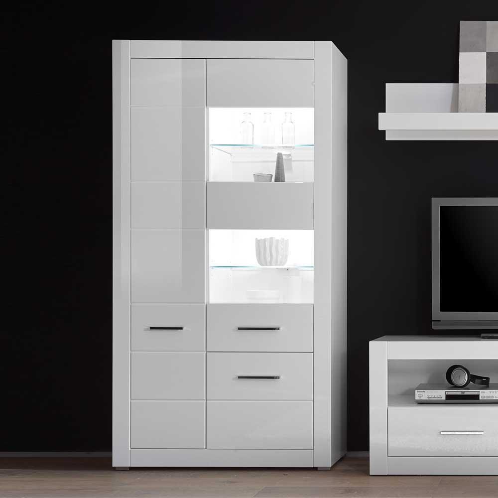 Wohnzimmervitrine in Weiß Hochglanz 100 cm breit