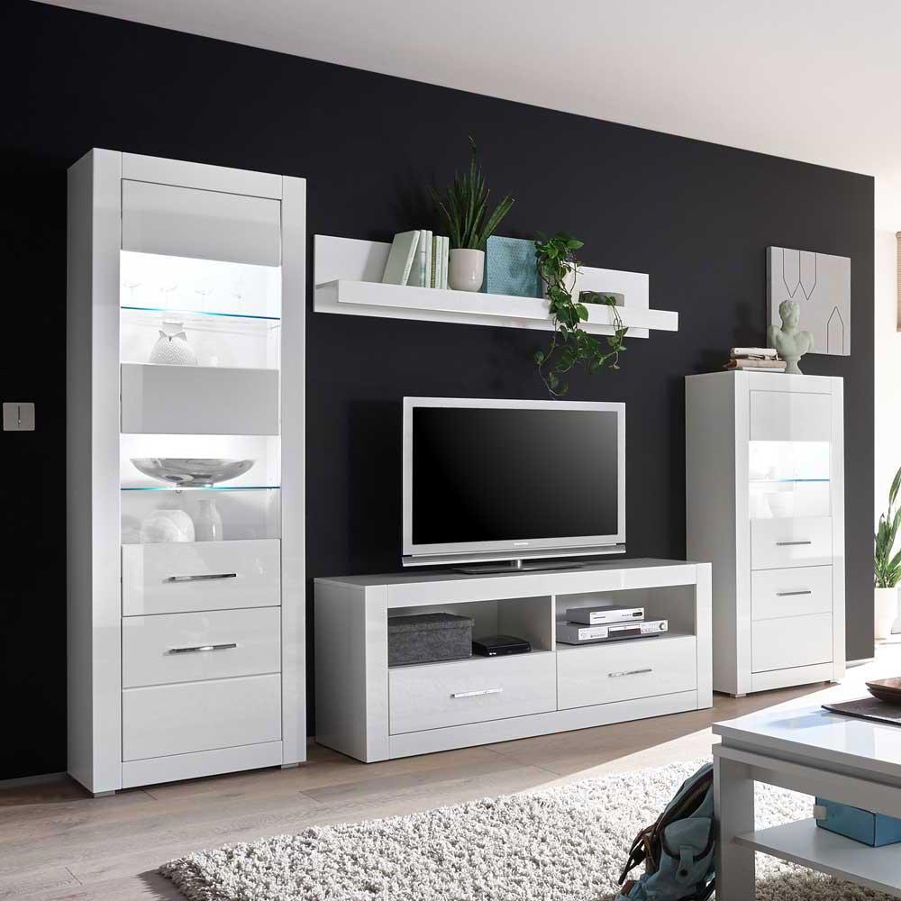 Design Wohnwand in Hochglanz Weiß 280 cm breit (vierteilig)