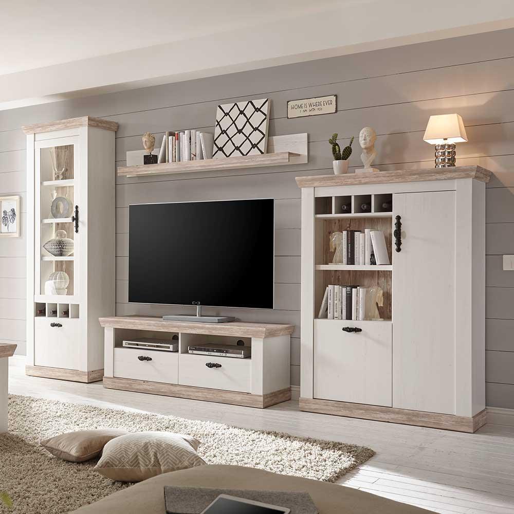 TV Anbauwand in Kiefer Weiß skandinavischen Landhausstil (4-teilig)   Wohnzimmer > TV-HiFi-Möbel > TV-Wände   Weiß   Holzwerkstoff   Brandolf
