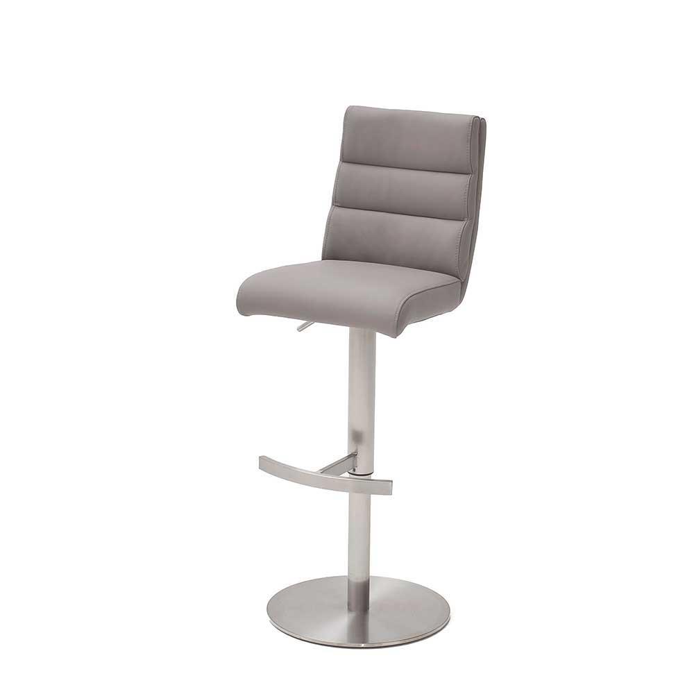 Küchenhocker in Hellgrau Kunstleder Lehne   Küche und Esszimmer > Stühle und Hocker > Küchenhocker   Grau   Textil   TopDesign