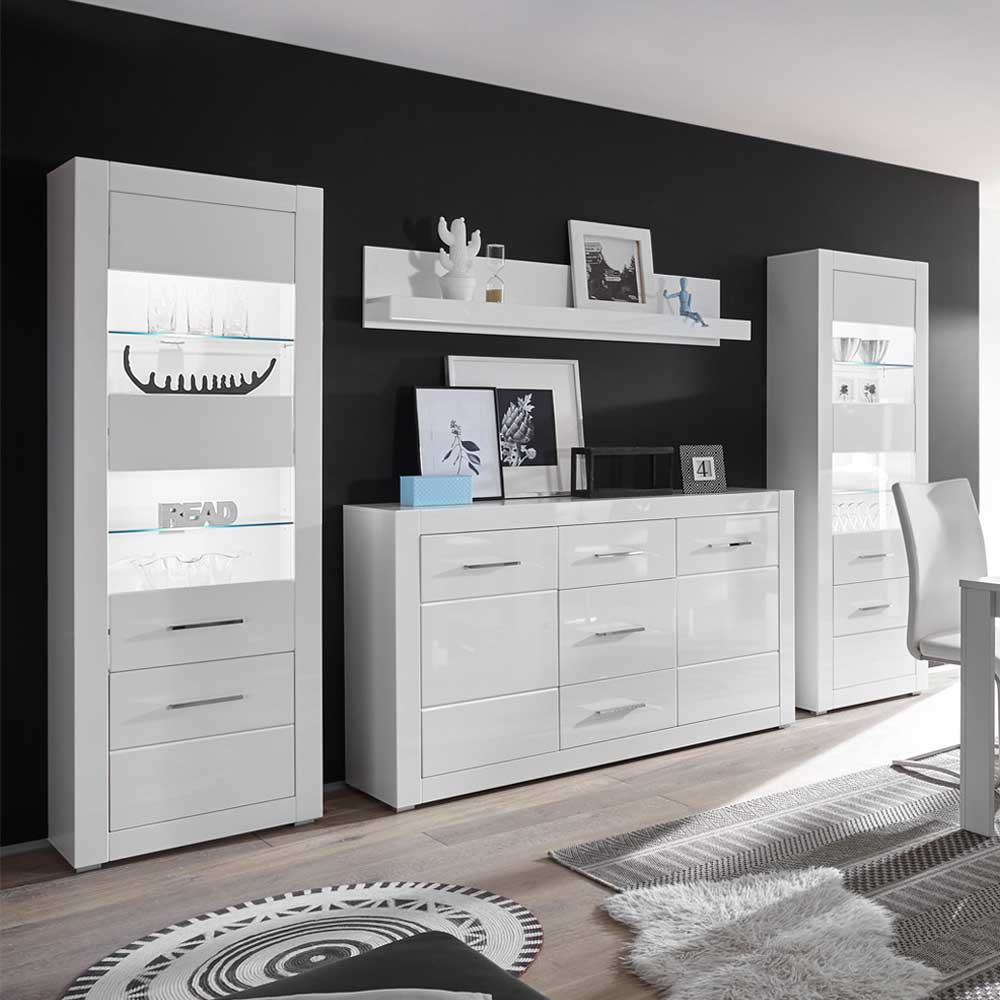 Anbauwand in Weiß Hochglanz und Beton Grau Sideboard (vierteilig)