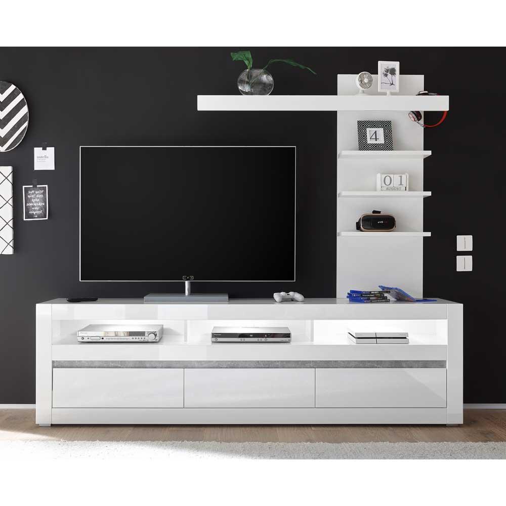TV Lowboard und Regal in Weiß Hochglanz und Beton Grau LED Beleuchtung (zweiteilig)