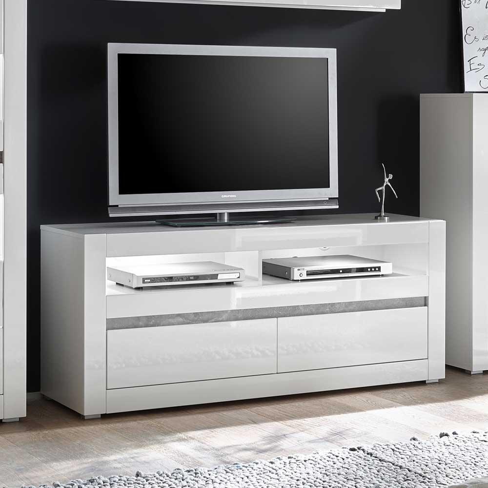 TV Lowboard in Weiß Hochglanz und Beton Grau 150 cm breit