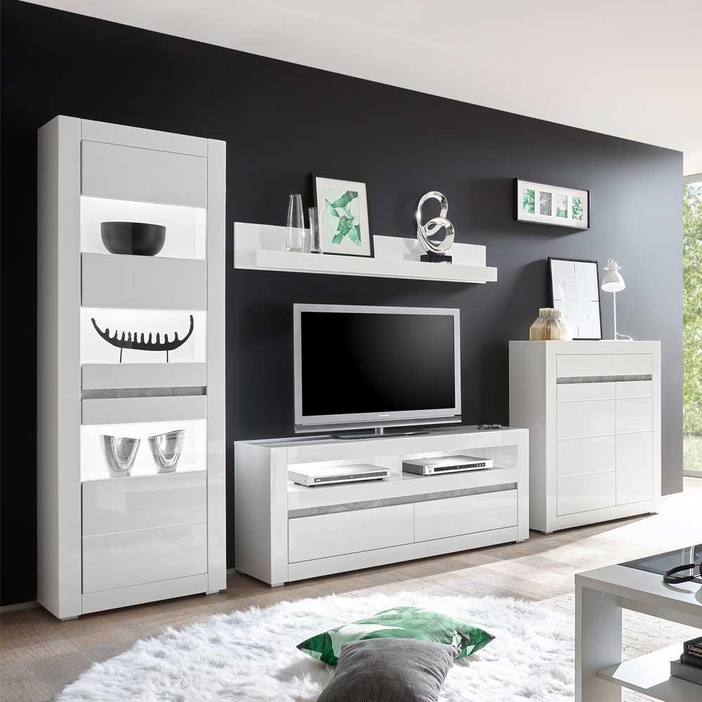 Hochglanz Wohnwand in Weiß und Beton Grau modern (vierteilig)
