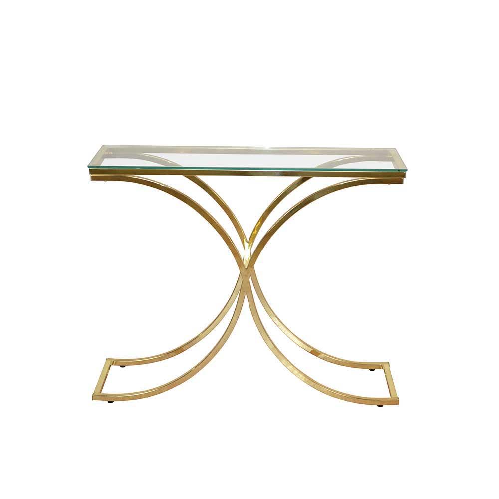 Glas Konsolentisch in Messingfarben 100 cm | Wohnzimmer > Tische > Konsolentische | Möbel4Life