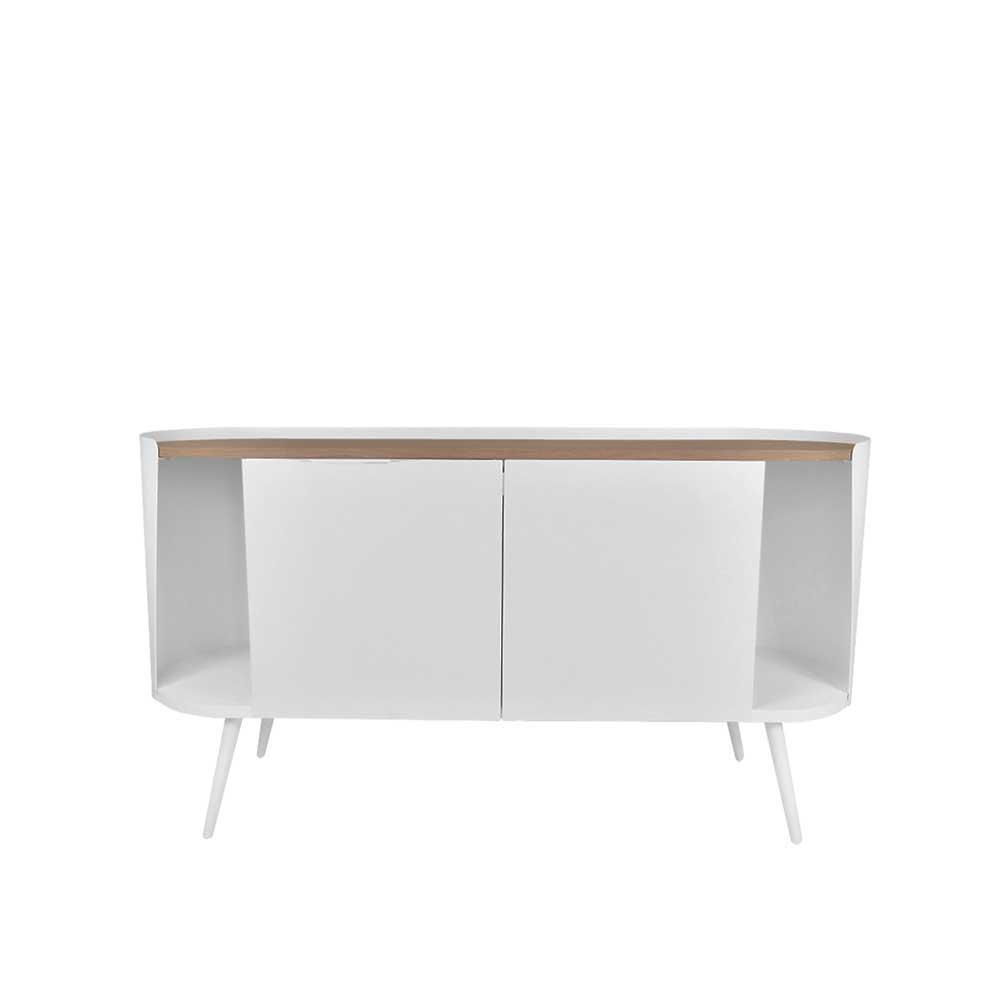 Ovales Sideboard aus Stahl in Weiß Eiche Dekor