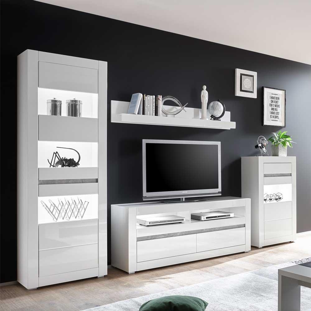 Wohnzimmer Schrankwand in Weiß Hochglanz Beton Grau (4 teilig)
