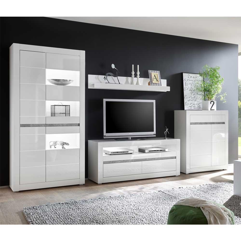 Wohnkombination In Hochglanz Weiß Und Beton Grau 350 Cm Breit (4 Teilig)