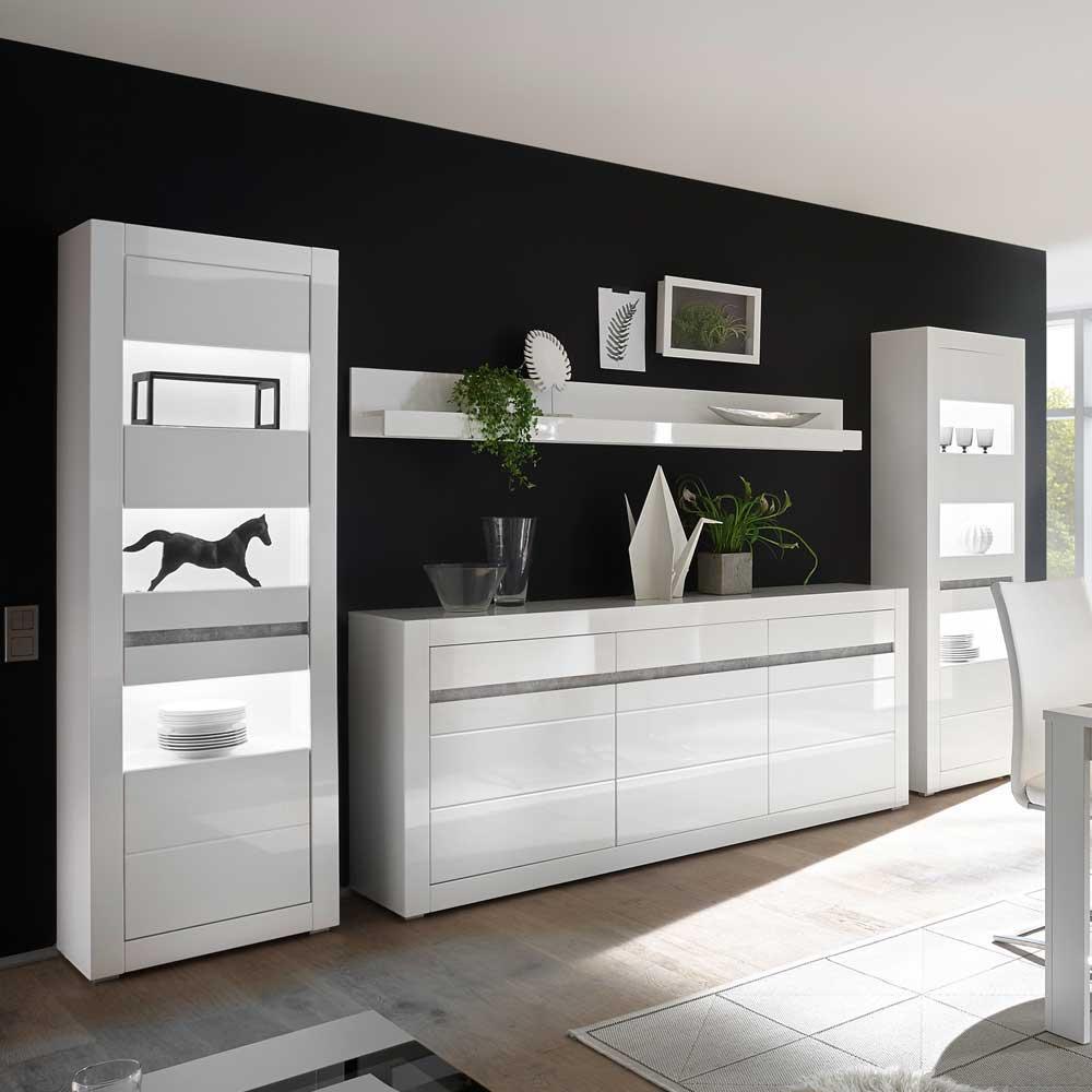 Design Wohnwand in Weiß Hochglanz und Beton Grau Sideboard (vierteilig)