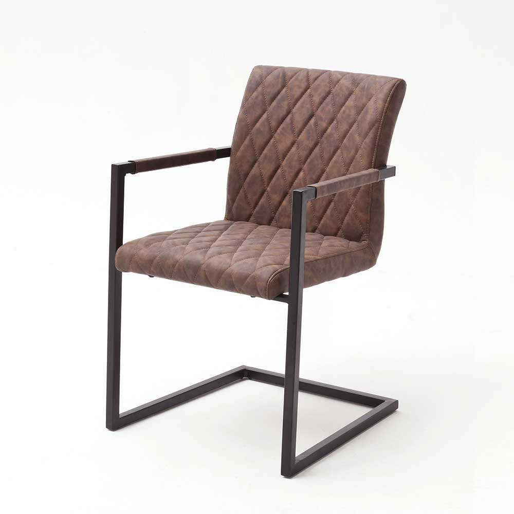 Freischwinger Sessel in Braun Kunstleder Schwarz Eisen (4er Set)