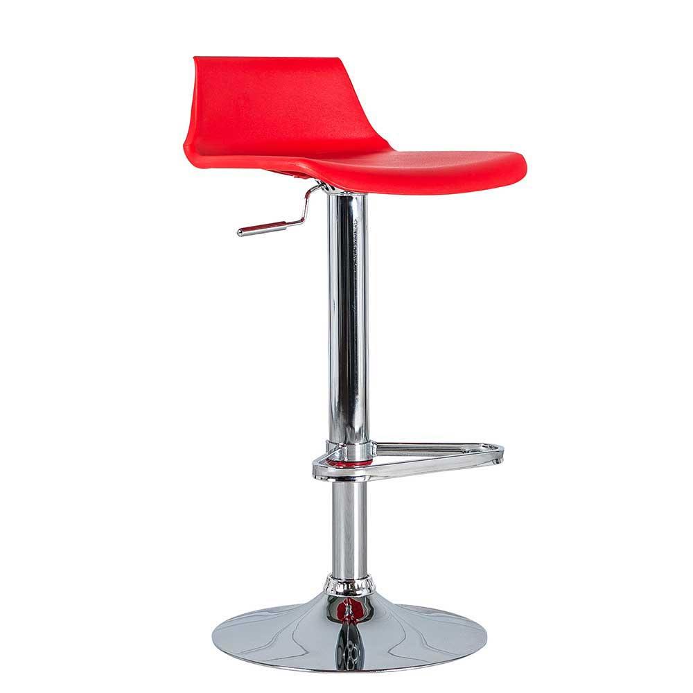 Küchenhocker in Rot Kunststoff Stahl verchromt | Küche und Esszimmer > Stühle und Hocker > Küchenhocker | Rot | Kunststoff | Basilicana
