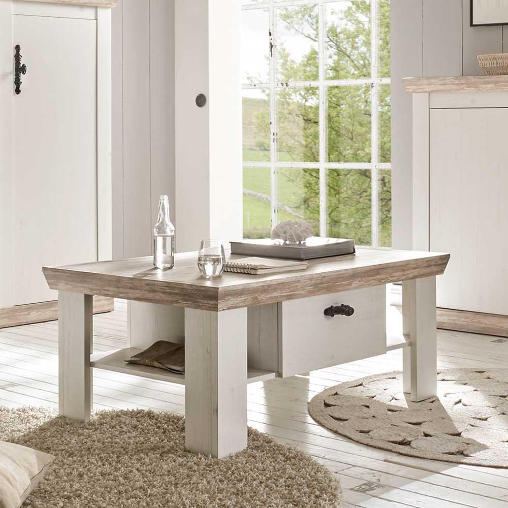 Wohnzimmer Couchtisch im skandinavischen Landhausstil Weiß Pinie