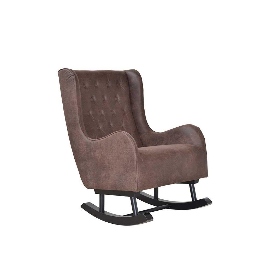 Ohrensessel mit Kufen Braun Stoff | Wohnzimmer > Sessel > Ohrensessel | Braun | Massivholz | Möbel4Life