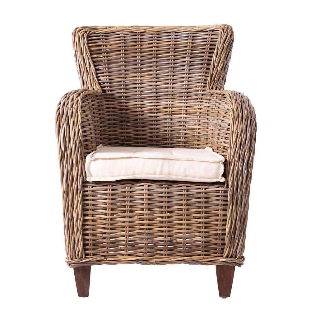 Armlehnen Sessel aus Rattan Braun (2er Set)