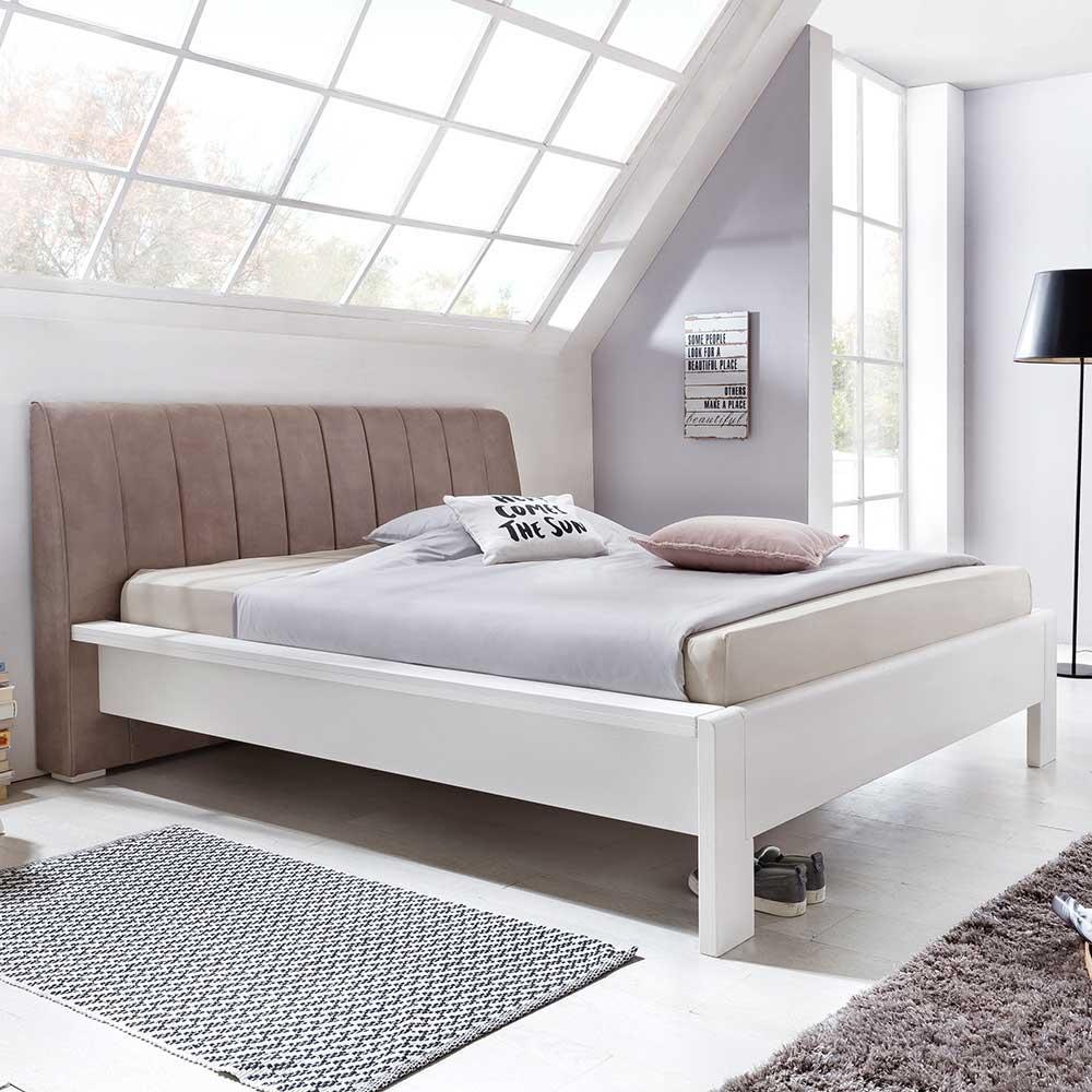 Designbett mit Polsterkopfteil in Braun Pinie Weiß