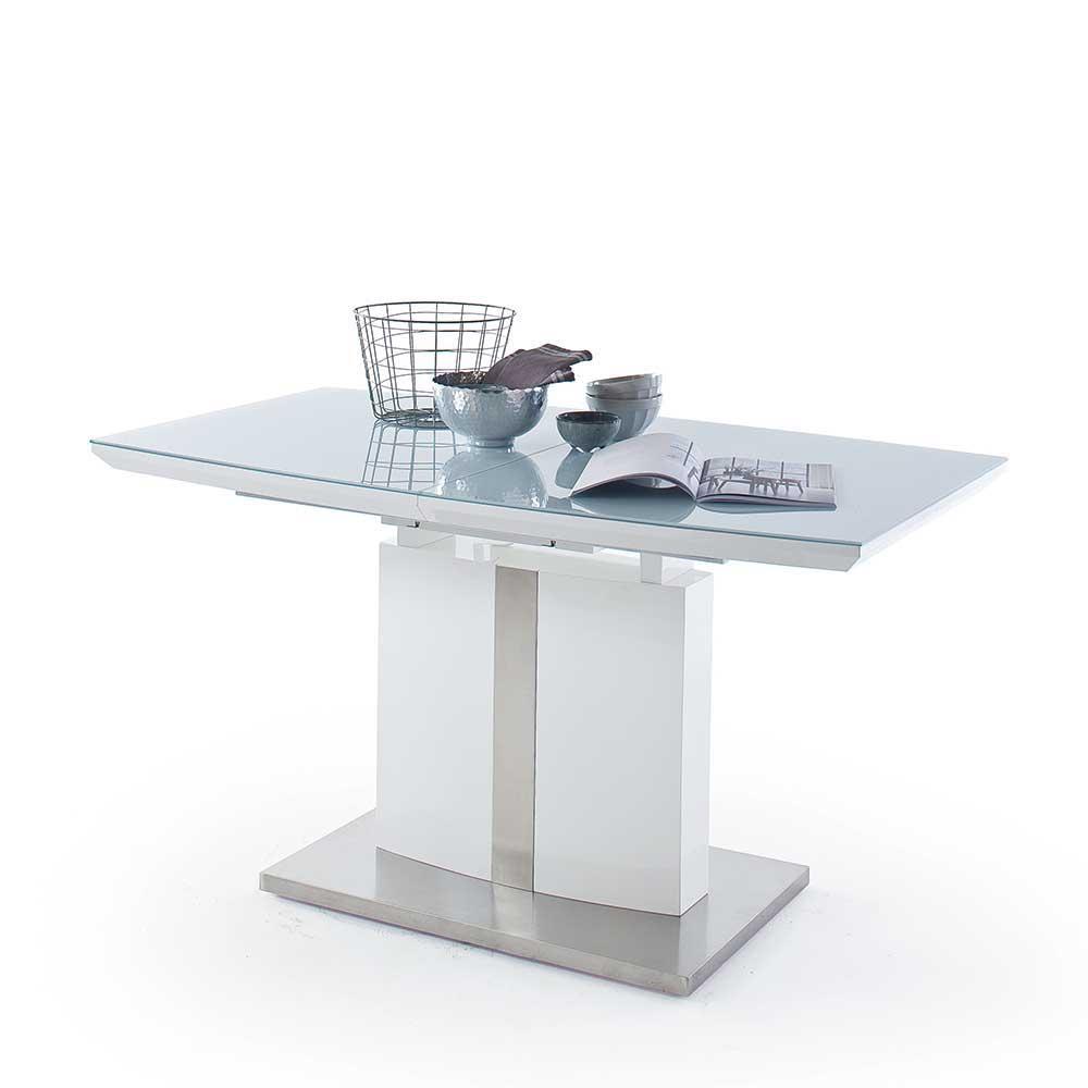 Ausziehbarer Säulen Esstisch mit Glas beschichtet Weiß Hochglanz