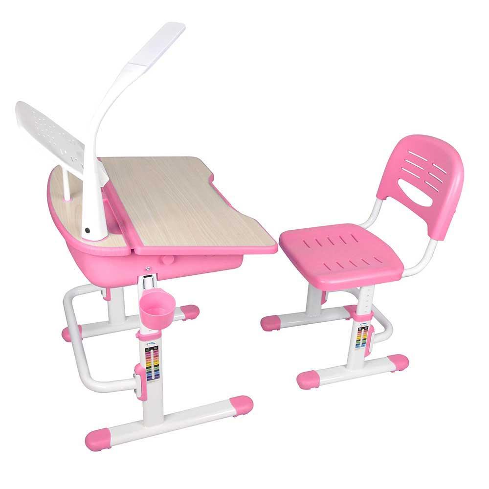 Kinderschreibtisch mit Stuhl in Rosa Weiß höhenverstellbar (2-teilig)   Kinderzimmer > Kindertische > Kinderschreibtische   Rosa   Holzwerkstoff   4Home