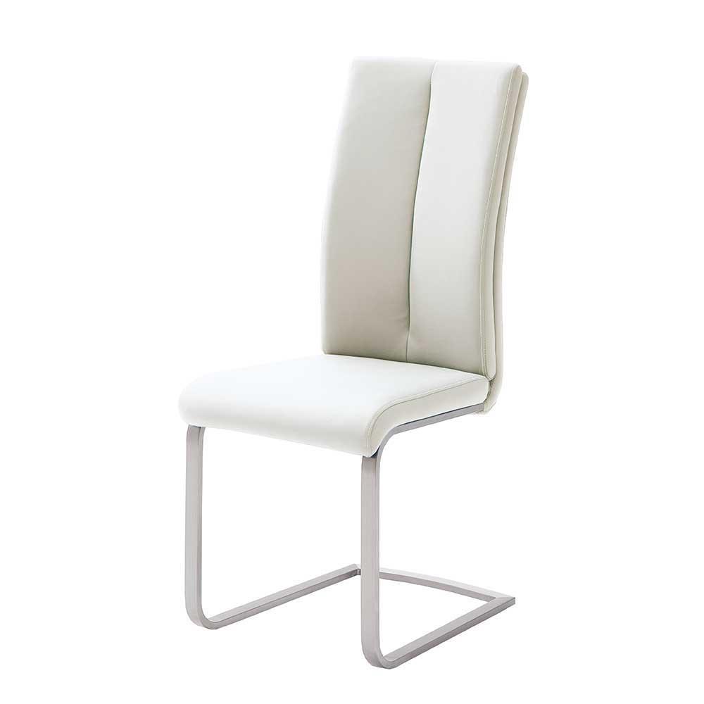 Schwingstuhl in Kunstleder Weiß Edelstahl (4er Set) | Küche und Esszimmer > Stühle und Hocker > Freischwinger | Weiß | Kunstleder - Edelstahl | TopDesign