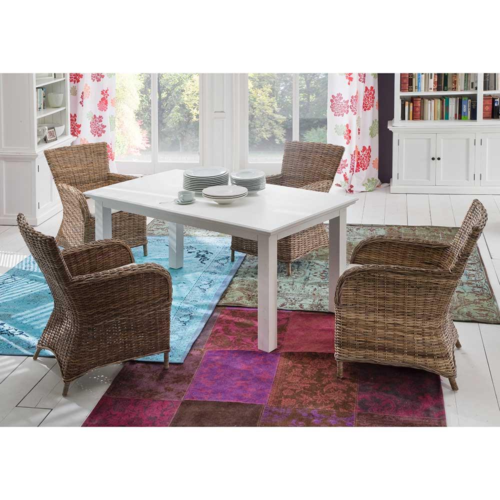 Essgruppe mit Korbstühlen ausziehbarem Tisch (fünfteilig)