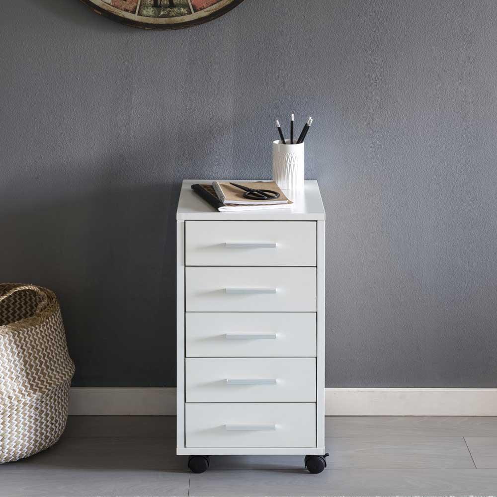 Büro Rollcontainer in Weiß 5 Schubladen