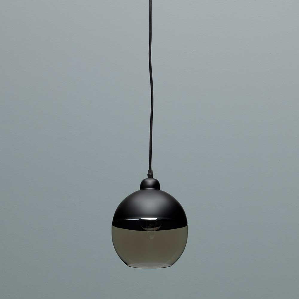 Design Hängelampe in Schwarz Metall Glas