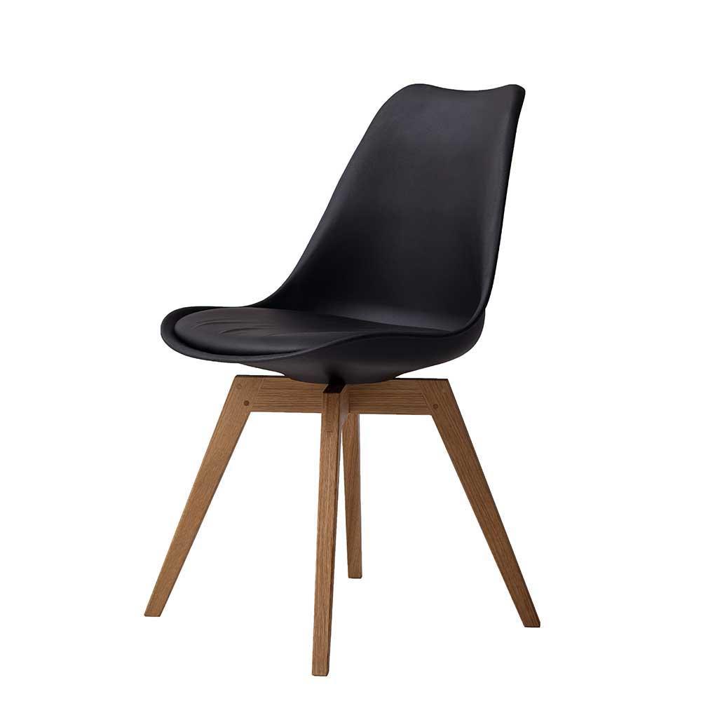 Design Schalenstuhl in Schwarz Kunststoff Massivholzbeinen (2er Set) | Küche und Esszimmer > Stühle und Hocker > Holzstühle | Schwarz | Kunststoff | Doncosmo