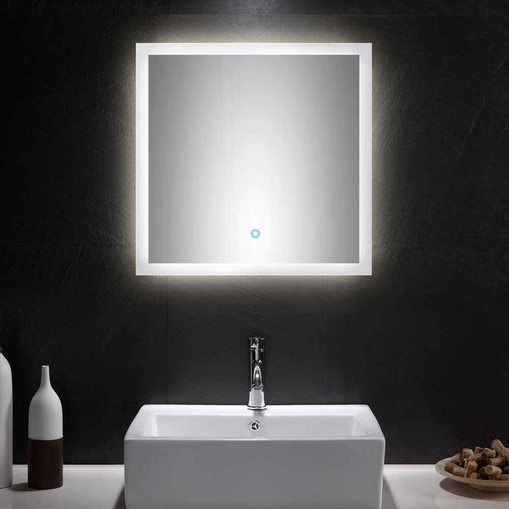 Badezimmer Lichtspiegel mit Glasrahmen modern | Bad > Spiegel fürs Bad | Möbel4Life