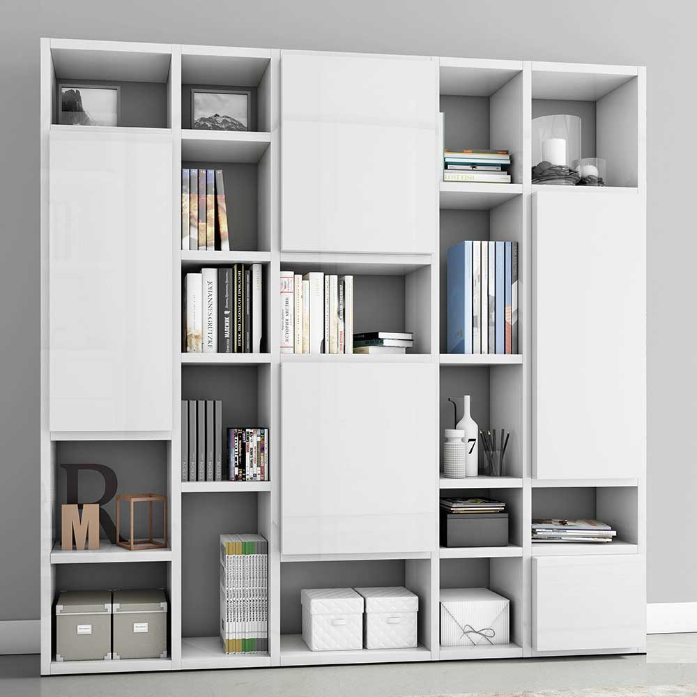 Hochglanz Regalwand mit Türen Weiß günstig online kaufen
