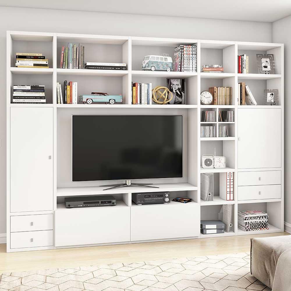 TV Wohnwand in Weiß lackiert modern