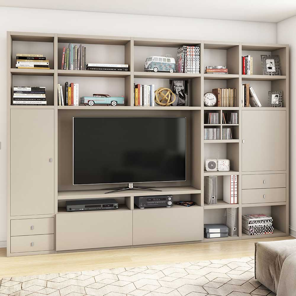 Moderne Regalwand in Beige TV