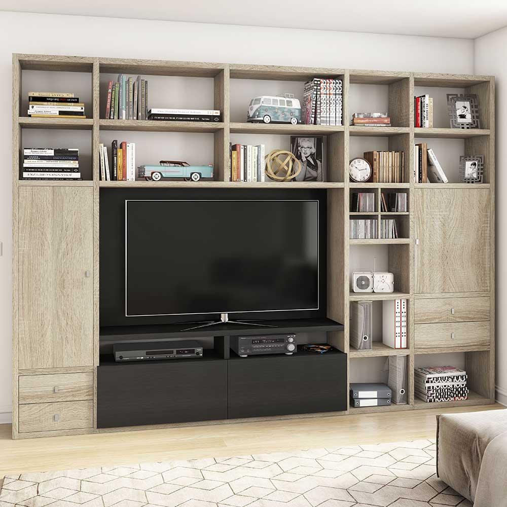 TV Wohnwand in Eiche Sonoma und Eiche Schwarz Braun Regalfächern