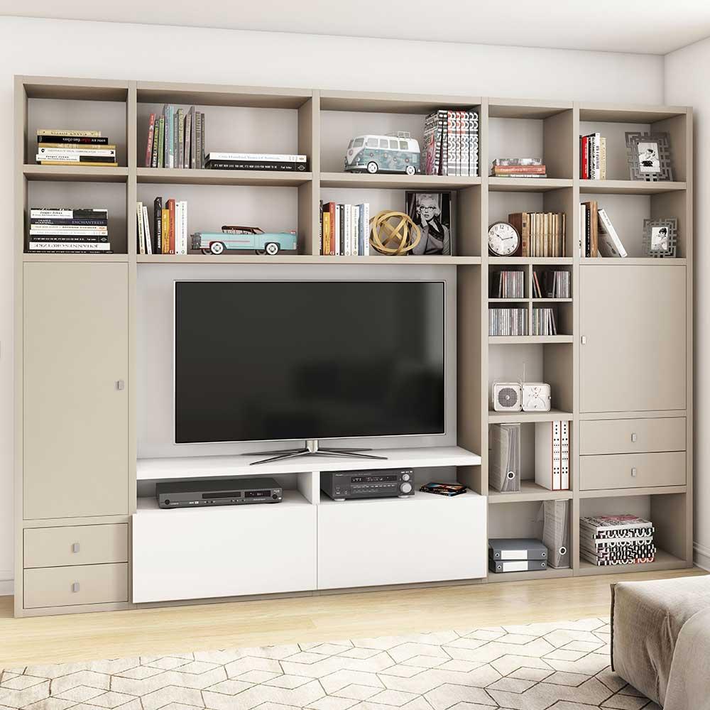 Design TV Wand in Weiß und Beige modern