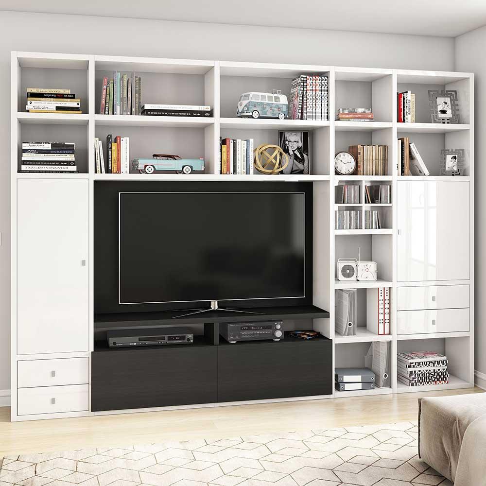 Hochglanz Wohnwand in Weiß Hochglanz und Eiche Schwarz Braun TV