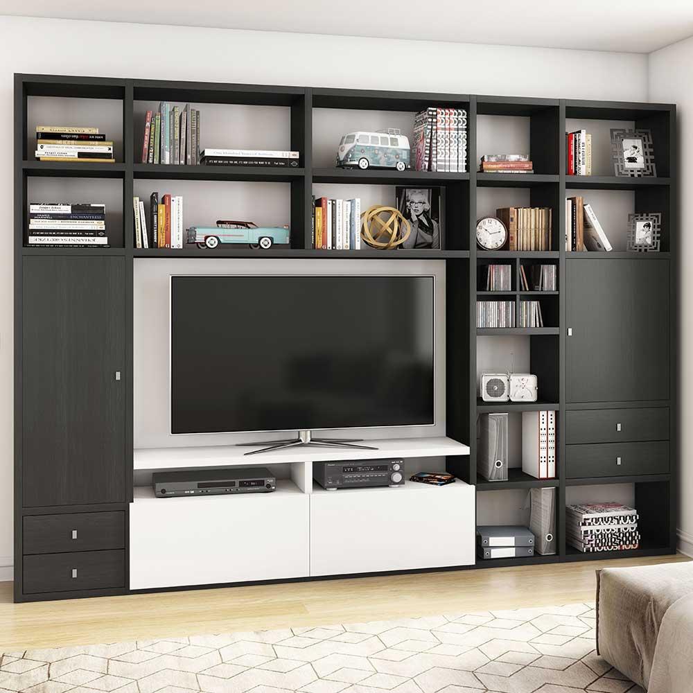 Design Wohnwand für Fernseher Eiche Schwarz Braun und Weiß Hochglanz