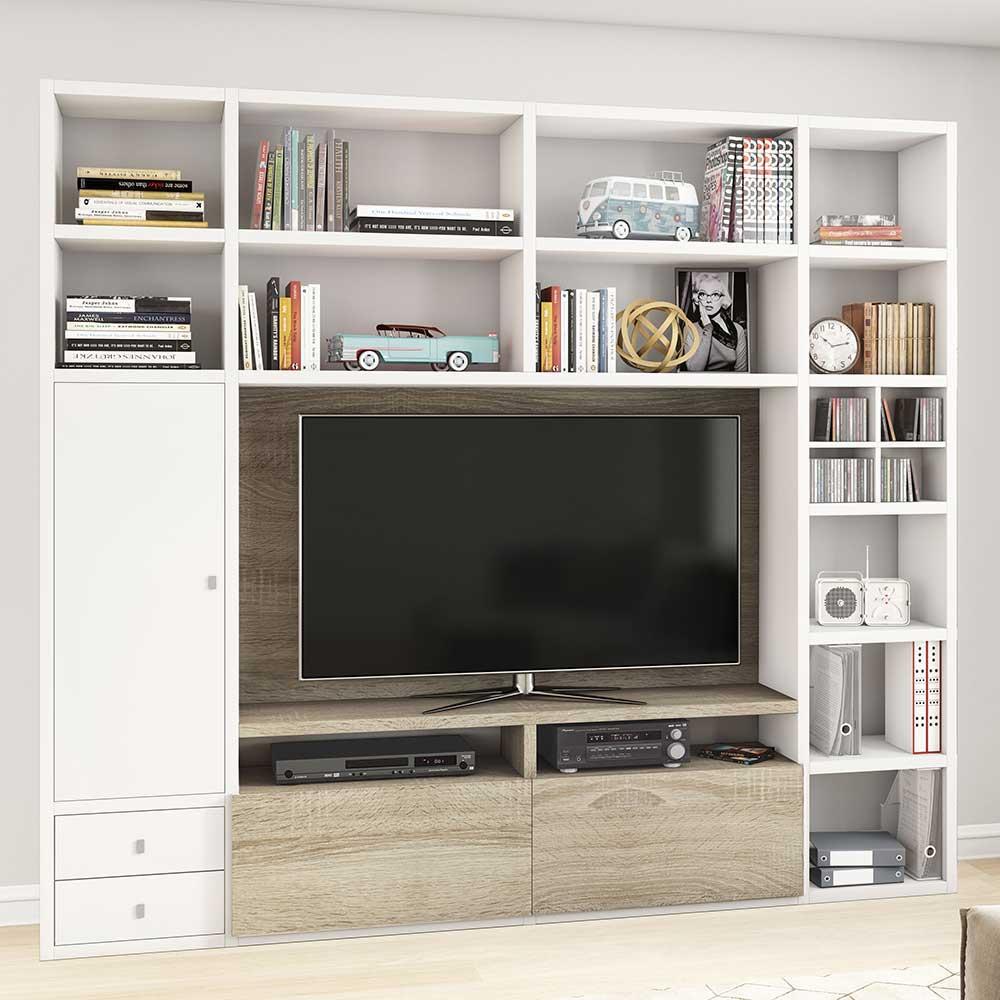 TV Wand in Weiß und Eiche Sonoma 250 cm