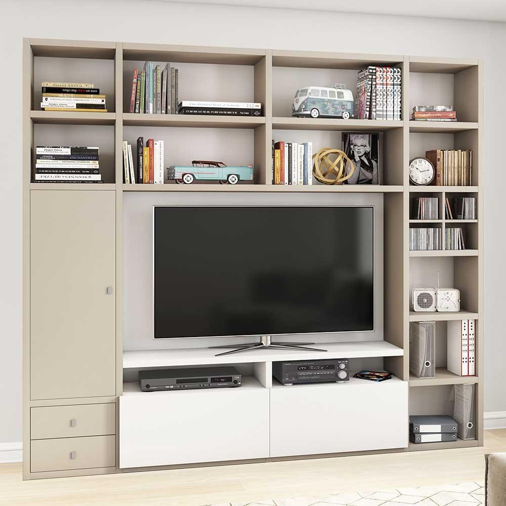 TV Regalwand in Beige und Weiß Tür | Wohnzimmer > TV-HiFi-Möbel > TV-Wände | Beige | Wabenplatte - Mdf | Star Möbel