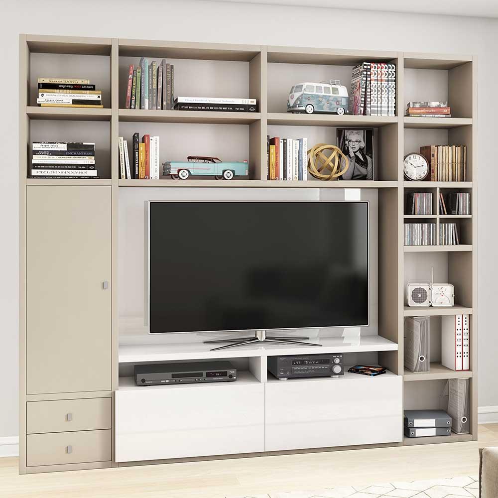 TV Wand in Beige und Weiß Hochglanz 221 cm hoch
