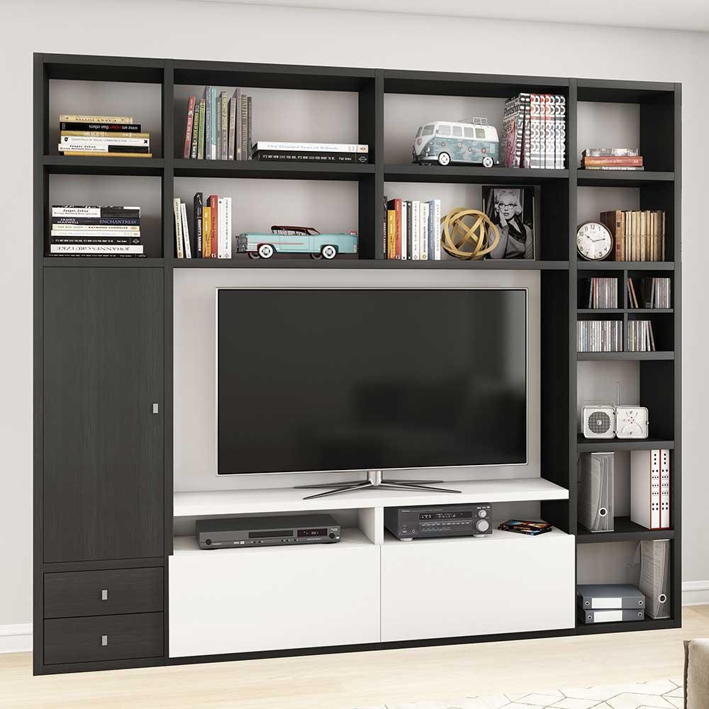 TV Wand in Eiche Schwarz Braun und Weiß 221 cm hoch