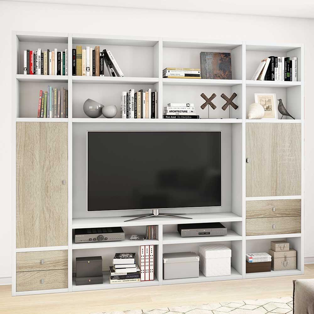 Design TV Wand mit Türen und Schubladen Weiß und Eiche Sonoma