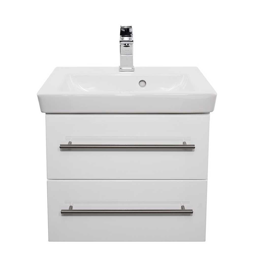 Badezimmerkommode in Weiß Hochglanz Keramik Waschbecken   Bad > Waschbecken   Weiß   Holzwerkstoff   Möbel4Life