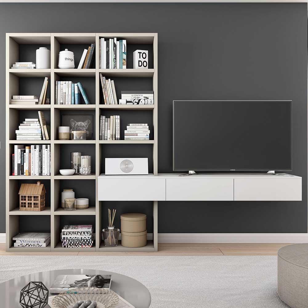 TV Hängeelement mit Regal Weiß und Beige