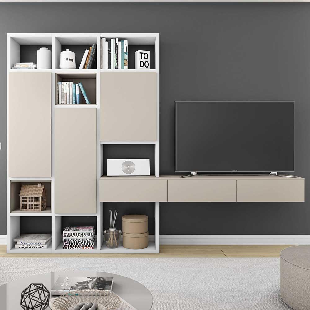 Design TV Wand mit Türen Weiß und Beige   Wohnzimmer > TV-HiFi-Möbel > TV-Wände   Beige   Holzwerkstoff   Star Möbel