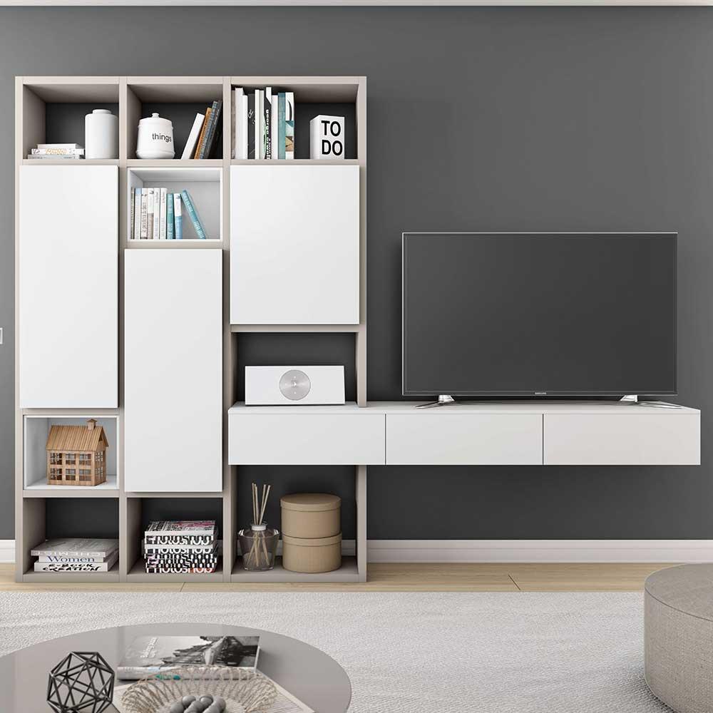 TV Wand mit Regalfächern und Türen Beige und Weiß