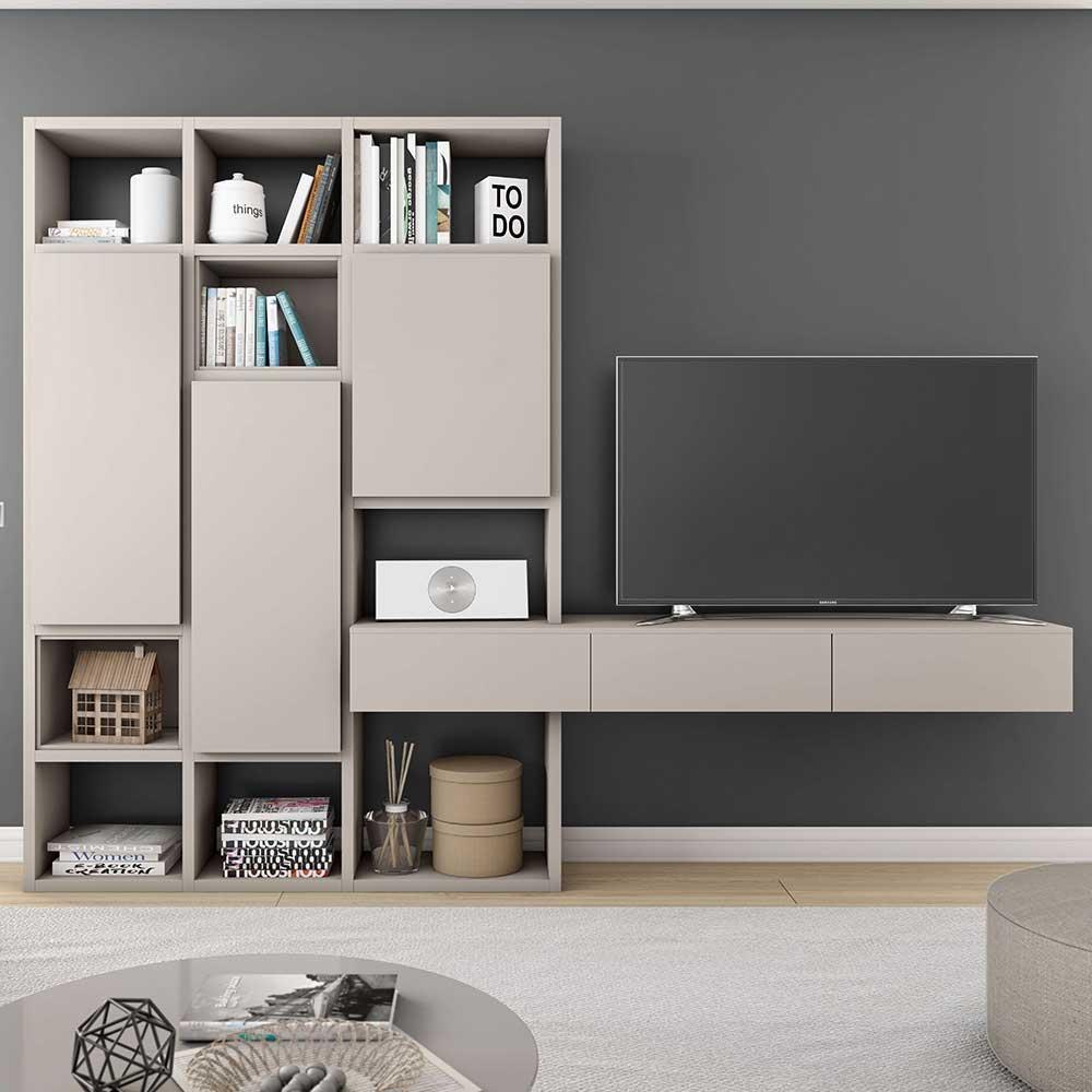 TV Regalwand mit Türen Beige