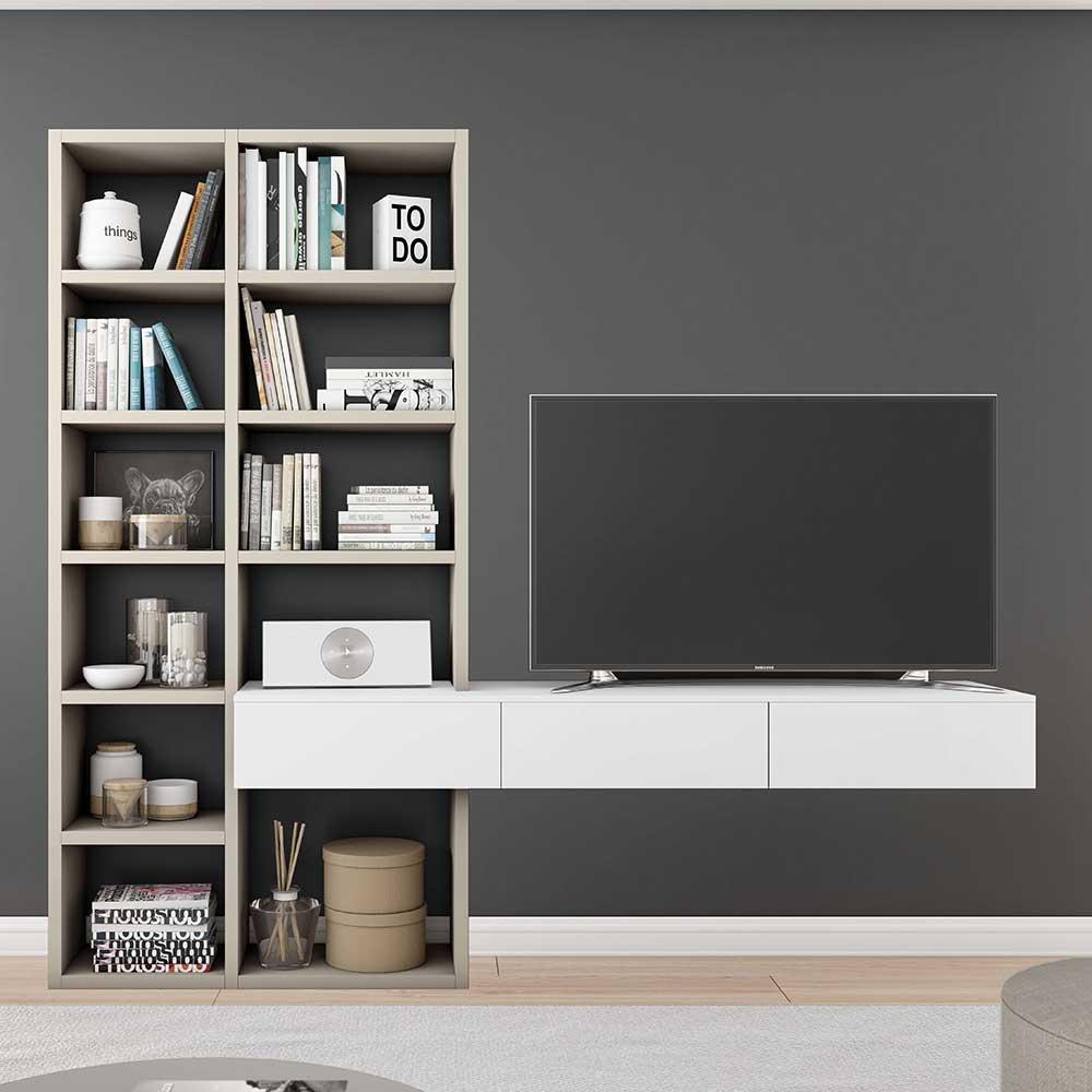 TV Regalwand in Weiß und Beige modern   Wohnzimmer > TV-HiFi-Möbel > TV-Wände   Beige   Holzwerkstoff   Star Möbel