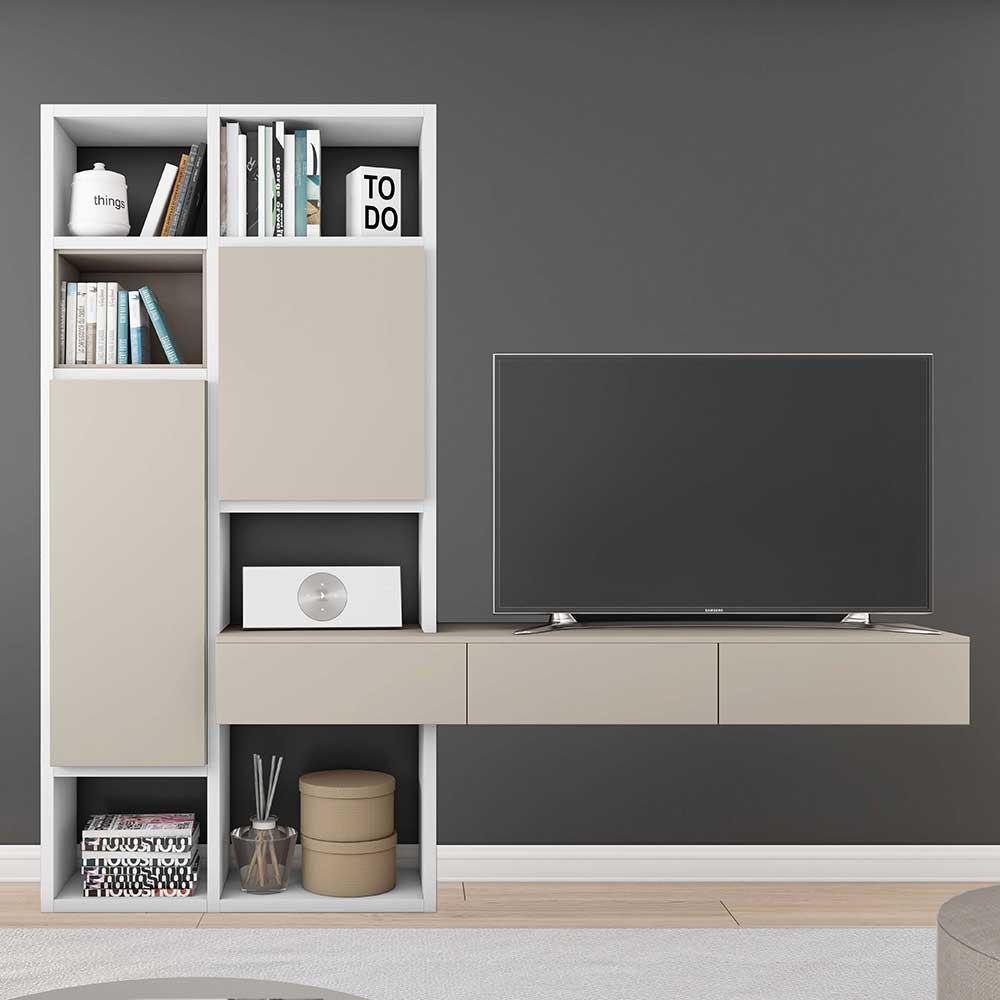 TV Regalwand in Weiß und Beige