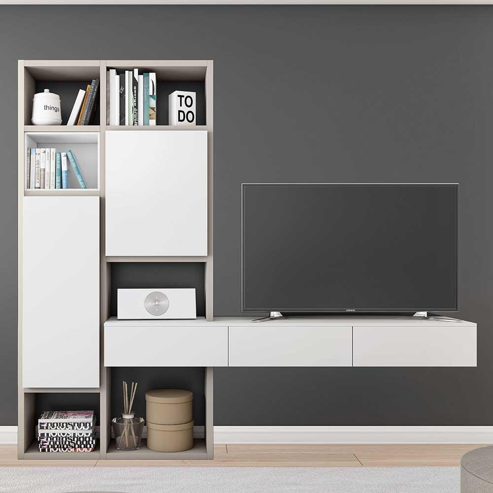 Weiße TV Wand mit Türen und Schubladen modern