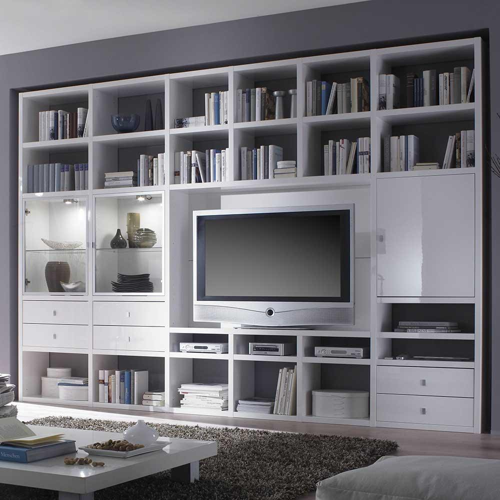 TV Wand mit LED Beleuchtung Weiß Hochglanz