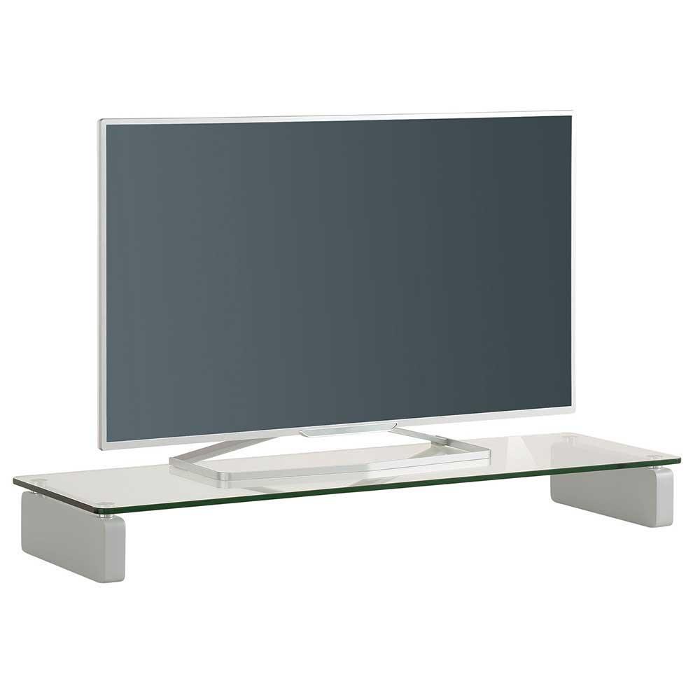 Tiefes TV Board aus Sicherheitsglas Weiß